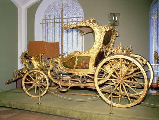 Gondola carriage of Empress Catherine II, carved wood, gilding on gesso ground, painted decoration and velvet upholstery, 1770s