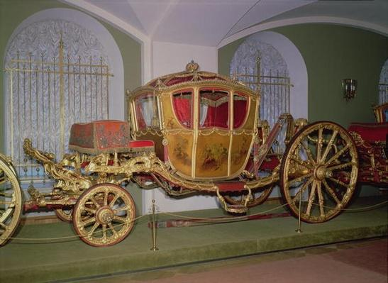 Berlin carriage of Empress Catherine II, wood, embossed bronze, carving and gilding on gesso ground, painted panels, St. Petersburg, 1769