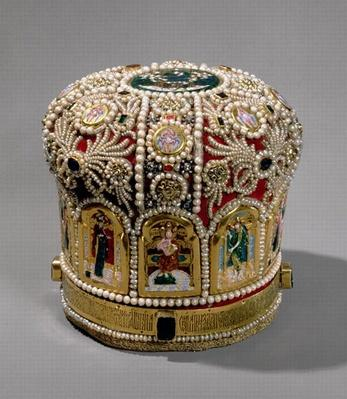 Mitre crown set with pearls and precious stones, 17th century
