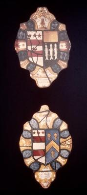 Panels with Washington and Kitson Arms and Washington and Butler Arms from Sulgrave Manor, 1588