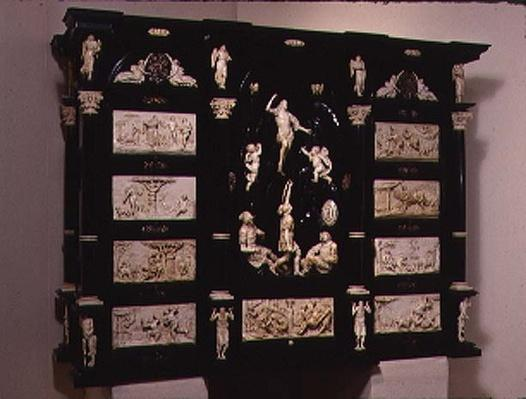 South German Kunstcabinet, decorated with carved figures and plaques, 1690