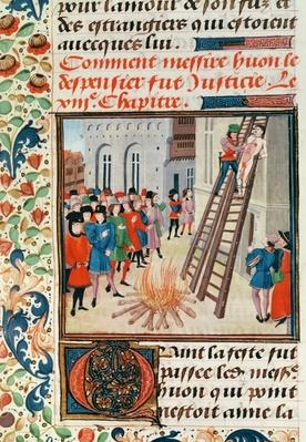 Ms Fr 2643 fol.11 Execution of Hugh Despenser, from Froissart's Chronicle