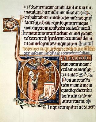 Ms 1186 f.122v Illuminated page, from the Psalter of St. Louis and Blanche of Castile, 1225-1250