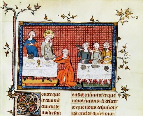 Ms. Fr. 5716 f.213 St. Louis Feeding the Poor, from ' Life and Miracles of St. Louis', c.1330-40