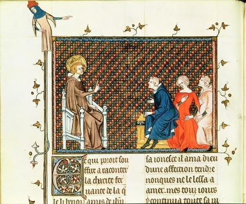 Ms Fr. 5716 fol.44 St. Louis teaching his children, from 'Life and Miracles of St. Louis', c.1330-40