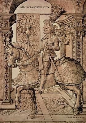 Emperor Maximilian I riding a horse, 1518