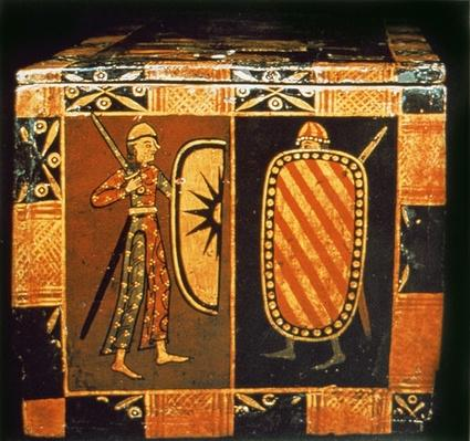 Detail from a wedding chest depicting soldiers dressed for battle