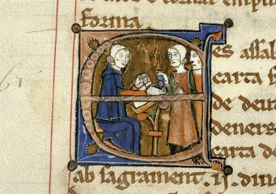Ms.41 f.82v Paying taxes, from 'Livre Juratiore d'Agen'