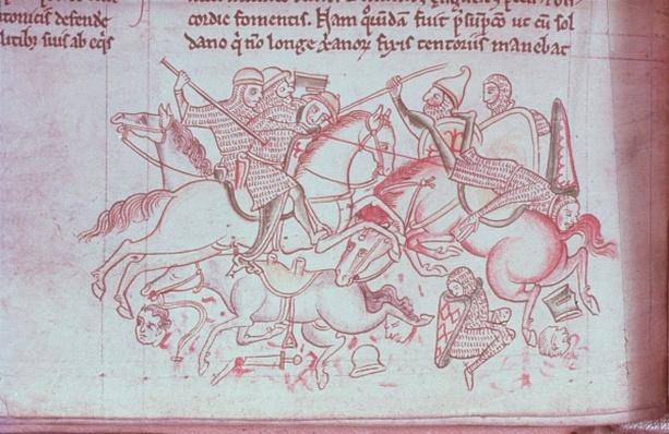 Ms 16 Roll 178 Battle of the Christians and Saracens at Damietta, from the 'Historia Major', c.1218
