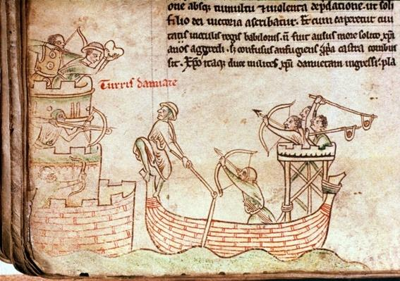 Ms 16 Roll 178 The Siege of Damietta from the sea, from the 'Historia Major', c.1219