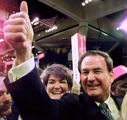 Presidential Candidate Pat Buchanan and Sister Bay Buchanan Greet Supporters at the RNC | U.S. Presidential Elections: 1996