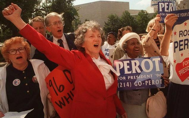 Harmony Love of Philadelphia Protests Ross Perot's Exclusion From the Presidential Debates | U.S. Presidential Elections: 1996