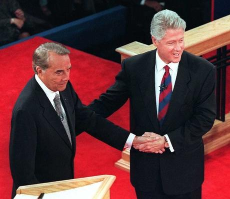 President Bill Clinton and Republican Candidate Bob Dole Shake Hands After the Last Debate | U.S. Presidential Elections: 1996