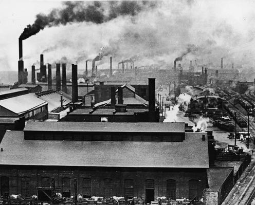 Rooftops And Smokestacks Of Factories | Industrial Revolution