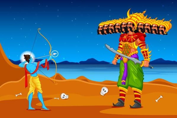 Rama killing Ravana in Dussehra | World Religions: Hinduism