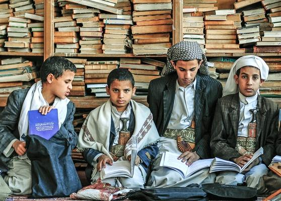 Young Scholars at the Grand Mosque - Sana'a, Yemen | World Religions: Islam