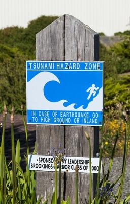 Tsunami hazard zone sign, Brookings, Oregon harbor | Natural Disasters: Hurricanes, Tsunamis, Earthquakes