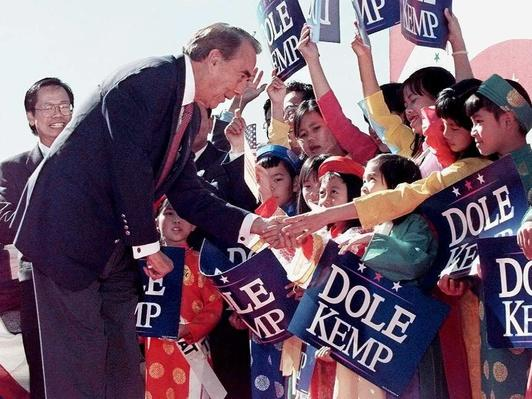 Republican Presidential Candidate Bob Dole Greets Students in San Jose | U.S. Presidential Elections: 1996