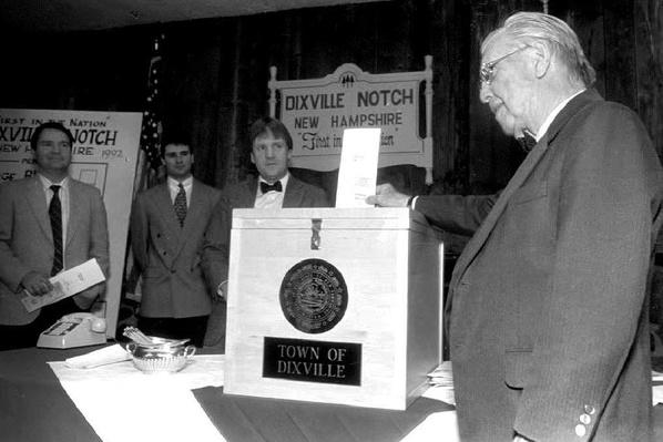 Town Moderator Neil Tillotson, 93, Casts the First Ballot | U.S. Presidential Elections: 1992
