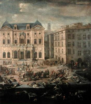 View of the Town Hall, Marseilles during the Plague of 1720