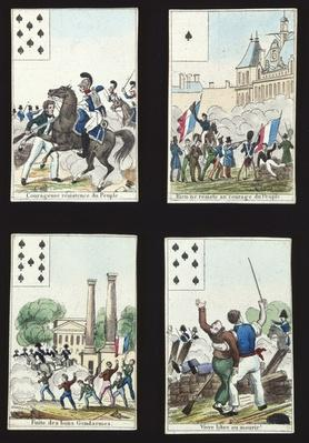 Four cards from a pack illustrated with propaganda scenes from the 1830 Revolution, Paris, 1831