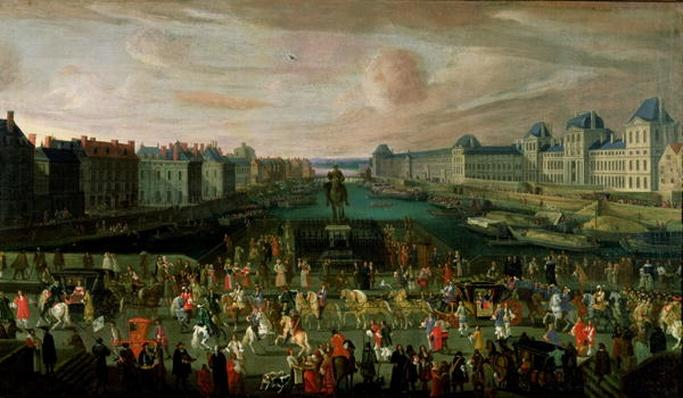 View of the Pont Neuf and the Chateau du Louvre with the Royal Carriage Passing in the Foreground, c.1665-69