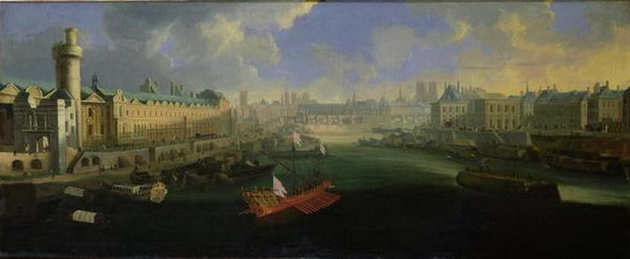 The River Seine, View of the Pont Neuf, The Louvre and the College Mazarin, c.1665