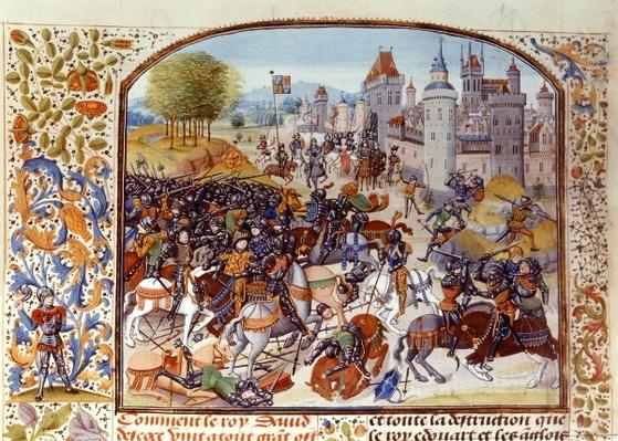 Fr 2643 f.97v Battle of Neville's Cross from the Hundred Years War in 1346, from Froissart's Chronicle