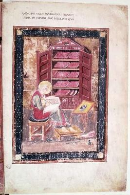 Ms 1 f.vr Ezra writing the sacred books from memory in 458 BC, from the Codex Amiatinus