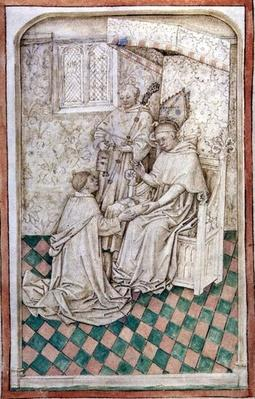 Ms R 14.5 f.8v Thomas Bekynton, Bishop of Bath and Wells, receives Chaundler, from the Abingdon Missal, 1457-61