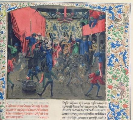 Fr 2646 f.176 Bal des Ardents', Charles being saved by the Duchess of Berry after Louis of Orleans set fire to the dancer's costumes, 1392, from Froissart's Chronicle