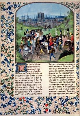 Ms Fr 2645 fol.321v Entry of Young Louis II of Anjou into Paris, from Froissart's Chronicle