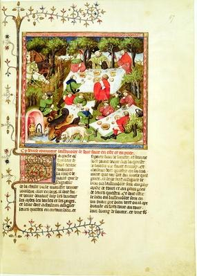 Ms Fr 616 fol.67 Hunters feasting before the stag hunt, from 'Livre de la Chasse' by Gaston Phebus de Foix