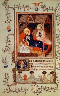 Nouv Lat 3093 f.42 Nativity and Visitation of the shepherds, from Duc de Berry's Tres Belle Heures, begun c.1382