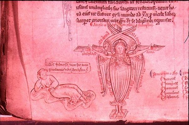 Vol.2 f.66 St. Francis sees the Seraph of the Stigmata, from the 'Historia Major', c.1250