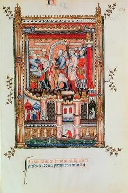 Fr 2091 fol.129 Sisinnius giving orders to St. Denis and his companions brought before him, from 'Vie de St. Denis', 1317
