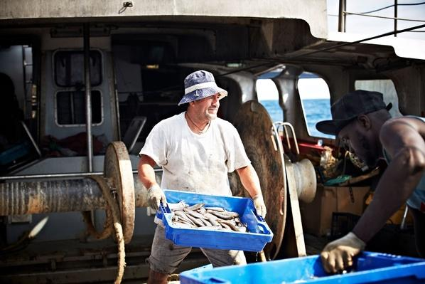 Worker Carrying Fish Crate on Trawler | Earth's Resources