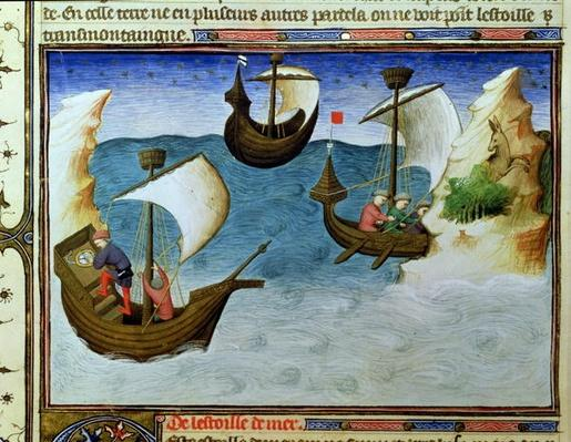 Ms Fr 2810 f.188 Navigators using an astrolabe in the Indian Ocean, from the Livre des Merveilles du Monde, c.1410-12