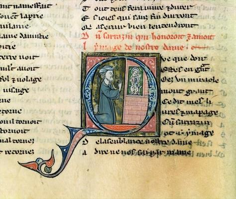 Fr.1533 f.100v Saracen converted by an image of the Virgin, from La Vie Nostre Dame