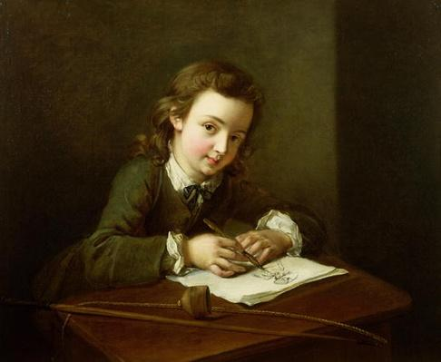 Boy Drawing at a Table