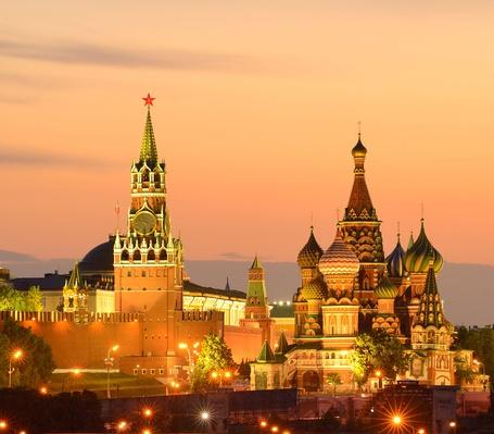 View of Kremlin towers, Saint Basils Cathedral at night, Moscow, Russia | World Religions: Christianity