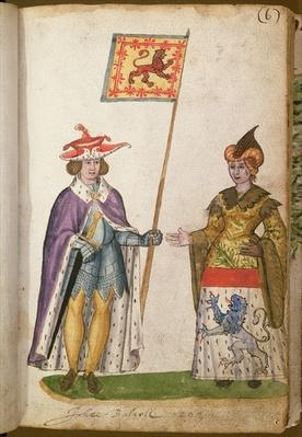 f.6 John de Baliol and his wife from the Seton Armorial, 1591