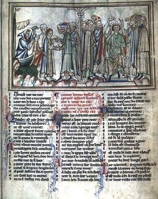 Ms Ee 3.59 The Anointing and Crowning of Edward the Confessor in 1043, from the Life of St. Edward the Confessor, c.1250-60
