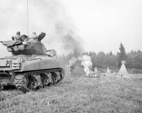 An M4A3E8 76mm armed Sherman tank with flame thrower | World War II