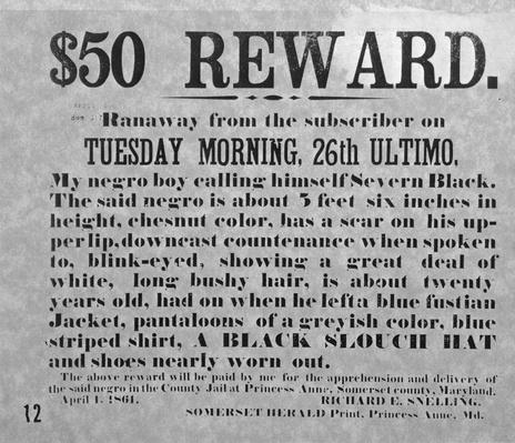Reward Notice For Return of Runaway Slave | African-American History
