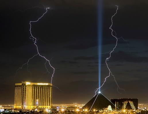 Lightning Storm Surges Over Las Vegas | Weather