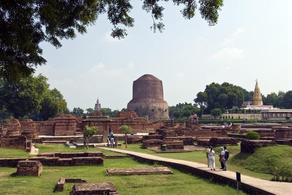 Monastery ruins, Dhamek Stupa, Sarnath, India | World Religions: Buddhism