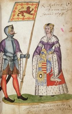 Fol.9 Robert the Bruce and his second wife, Elizabeth de Burgh, from the Seton Armorial, 1591