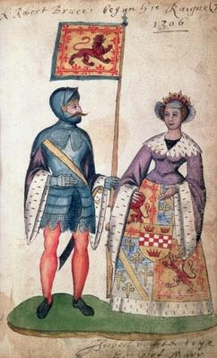 Fol.7 Robert the Bruce and his first wife, Isabella of Mar, daughter of Donald, 10th Earl of Mar, from the Seton Armorial, 1591