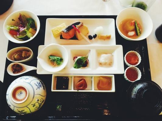 High Angle View Of Japanese Food Served On Table | Exploring International Cuisine